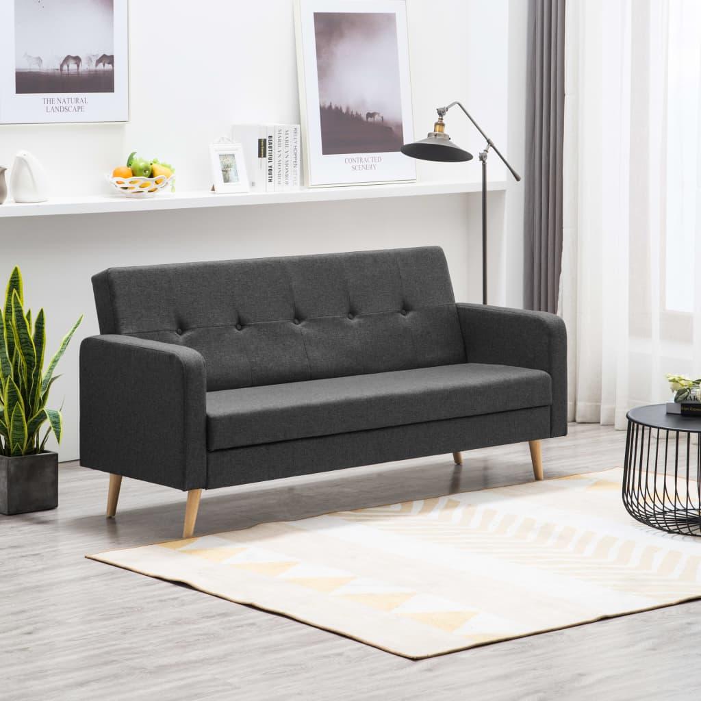 vidaXL Sofa tapicerowana materiałem, ciemnoszara