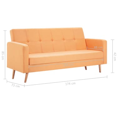 vidaXL Pohovka s textilním čalouněním oranžová[9/10]