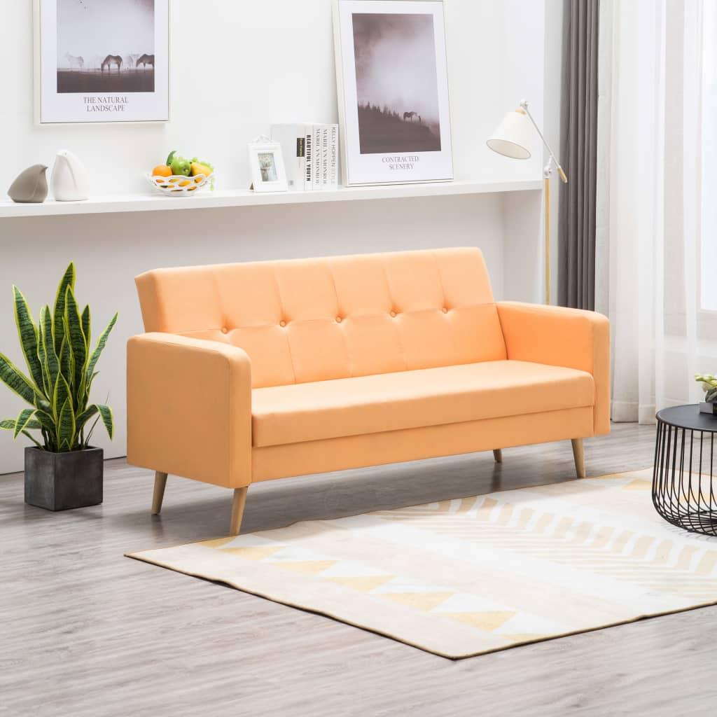 vidaXL Sofa tapicerowana materiałem, pomarańczowa