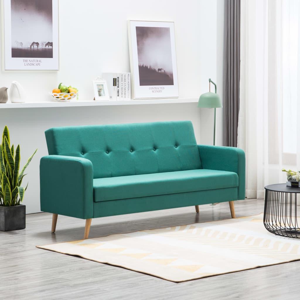 vidaXL Sofa materiałowa, zielona