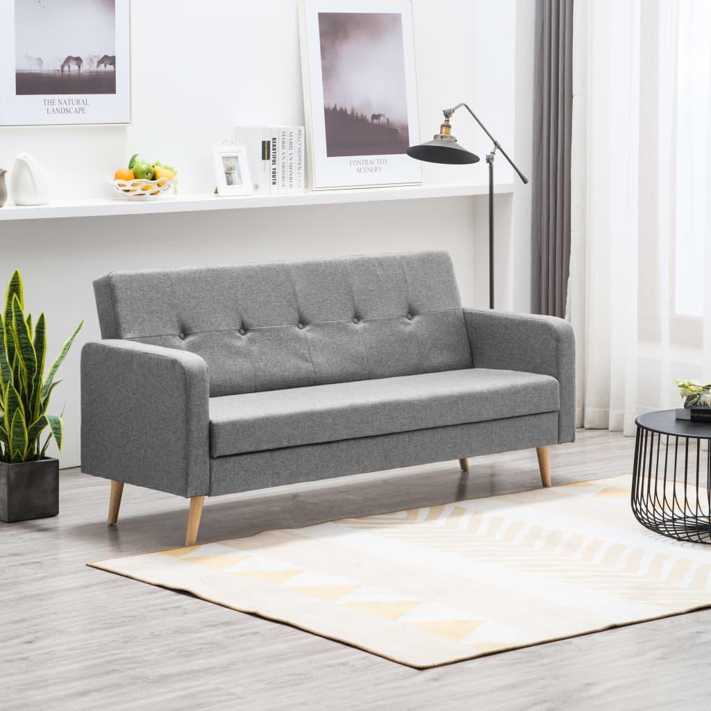 vidaXL Sofa materiałowa, jasnoszara