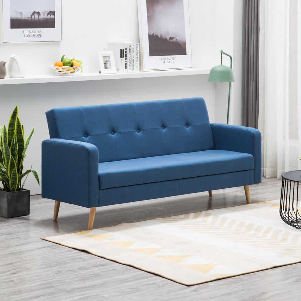 vidaXL Sofa materiałowa, niebieska