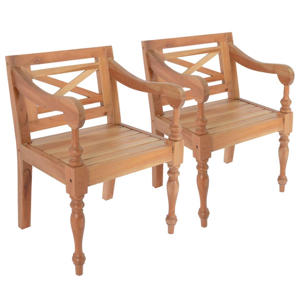 Židle Batavia 2 ks masivní mahagon světle hnědé