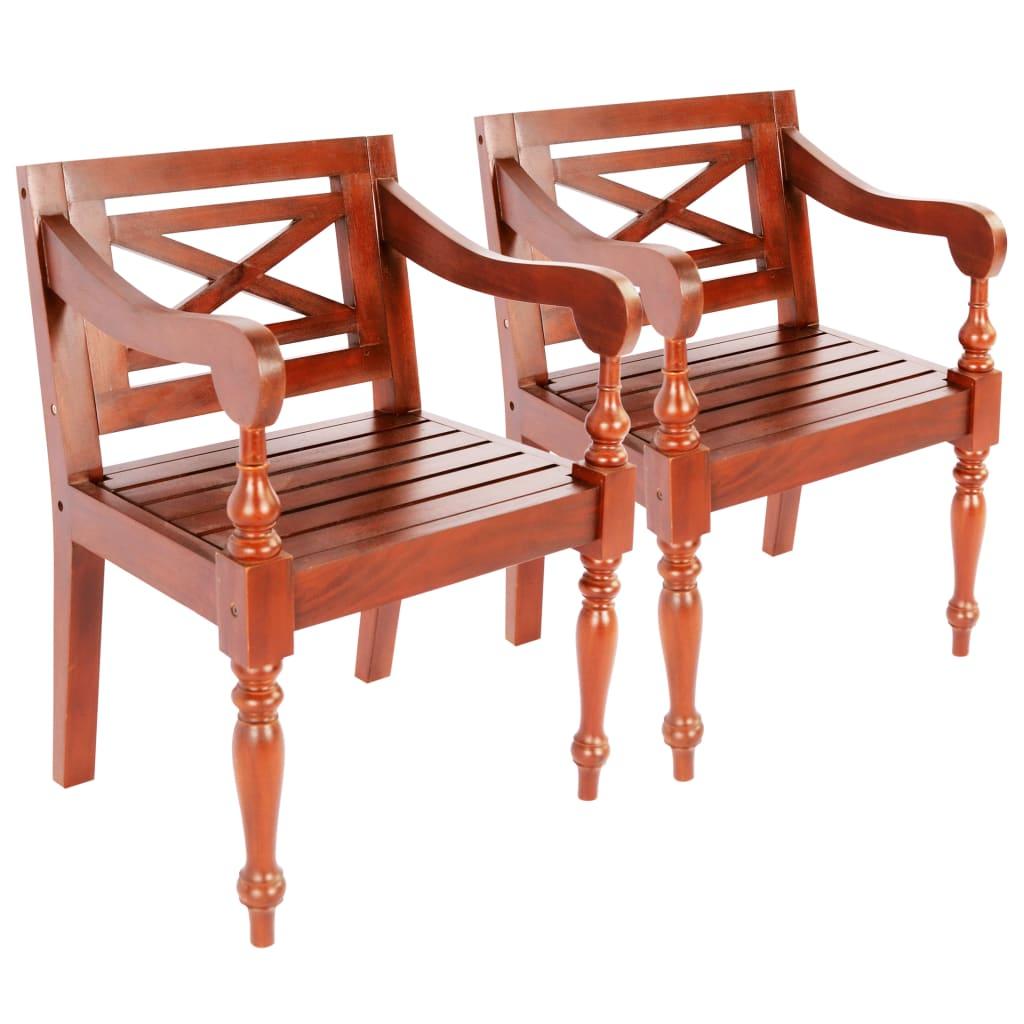 Židle Batavia 2 ks masivní mahagon tmavě hnědé
