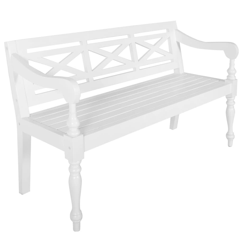 vidaXL Bancă Batavia, alb, 136 cm, lemn masiv mahon poza vidaxl.ro