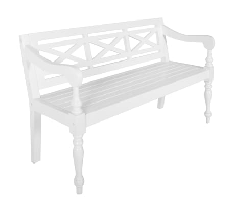 "vidaXL Batavia Bench 53.5"" Solid Mahogany Wood White"