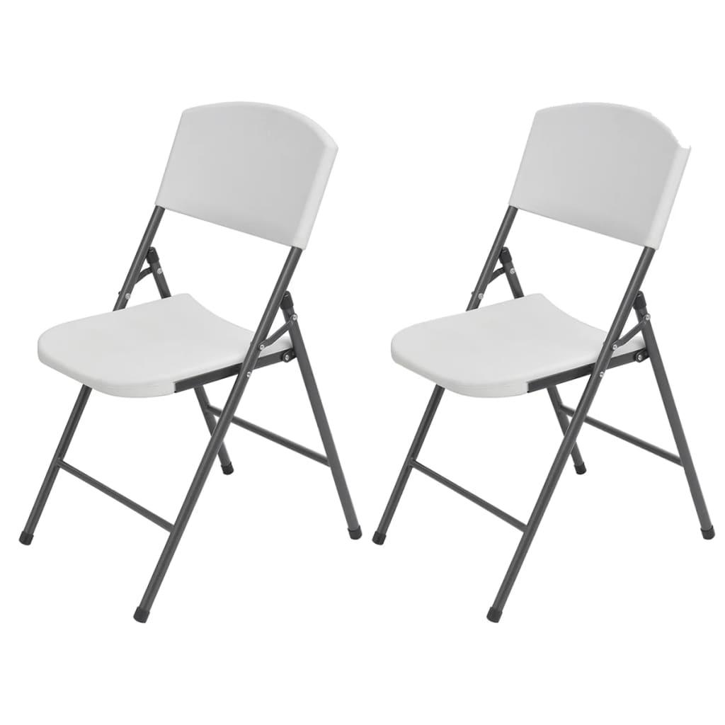 vidaXL Skládací zahradní židle 2 ks HDPE a ocel bílé