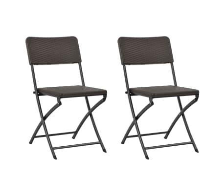 96b364f8741e9 vidaXL Skladacie záhradné stoličky 2 ks, HDPE a oceľ, hnedé | vidaXL.sk