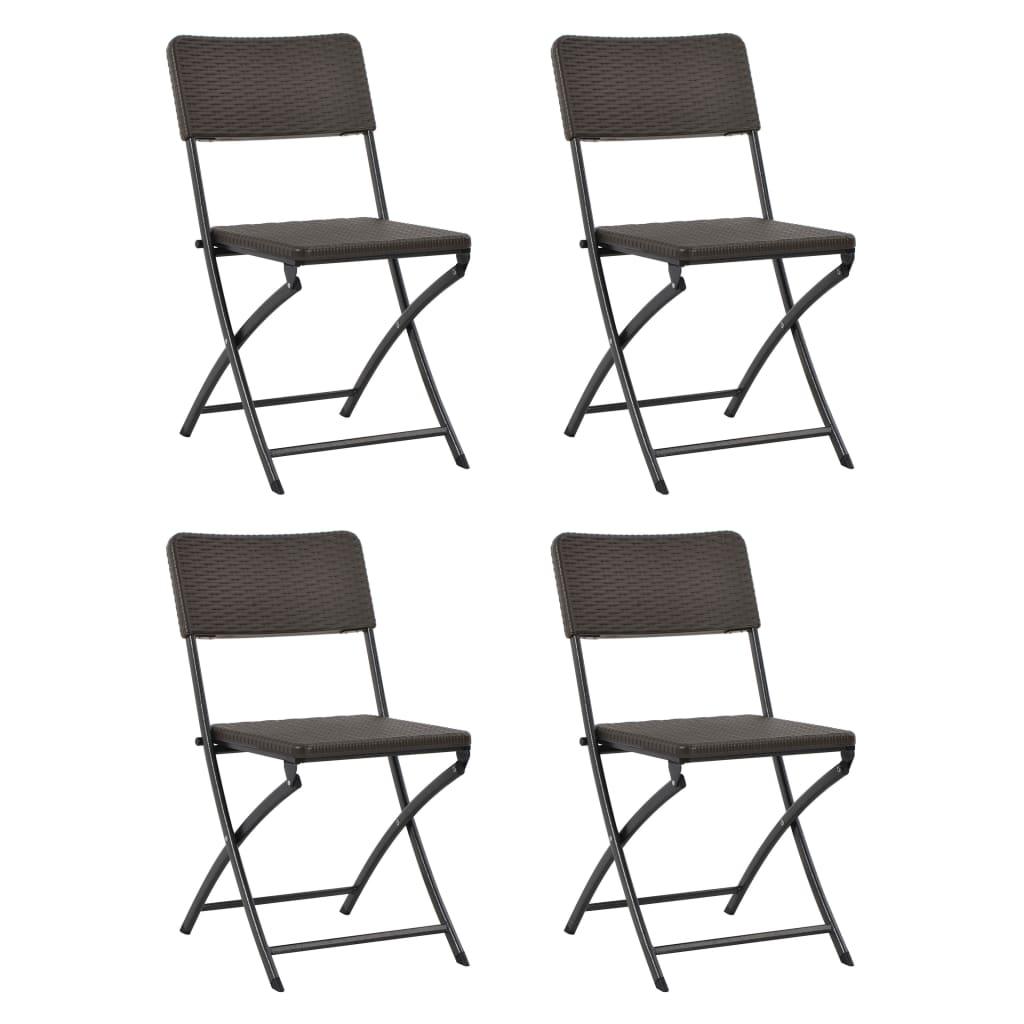 vidaXL Καρέκλες Κήπου Πτυσσόμενες 4 τεμ. Καφέ από HDPE / Ατσάλι