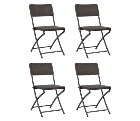 vidaXL Klappbare Gartenstühle 4 Stk. HDPE und Stahl Braun