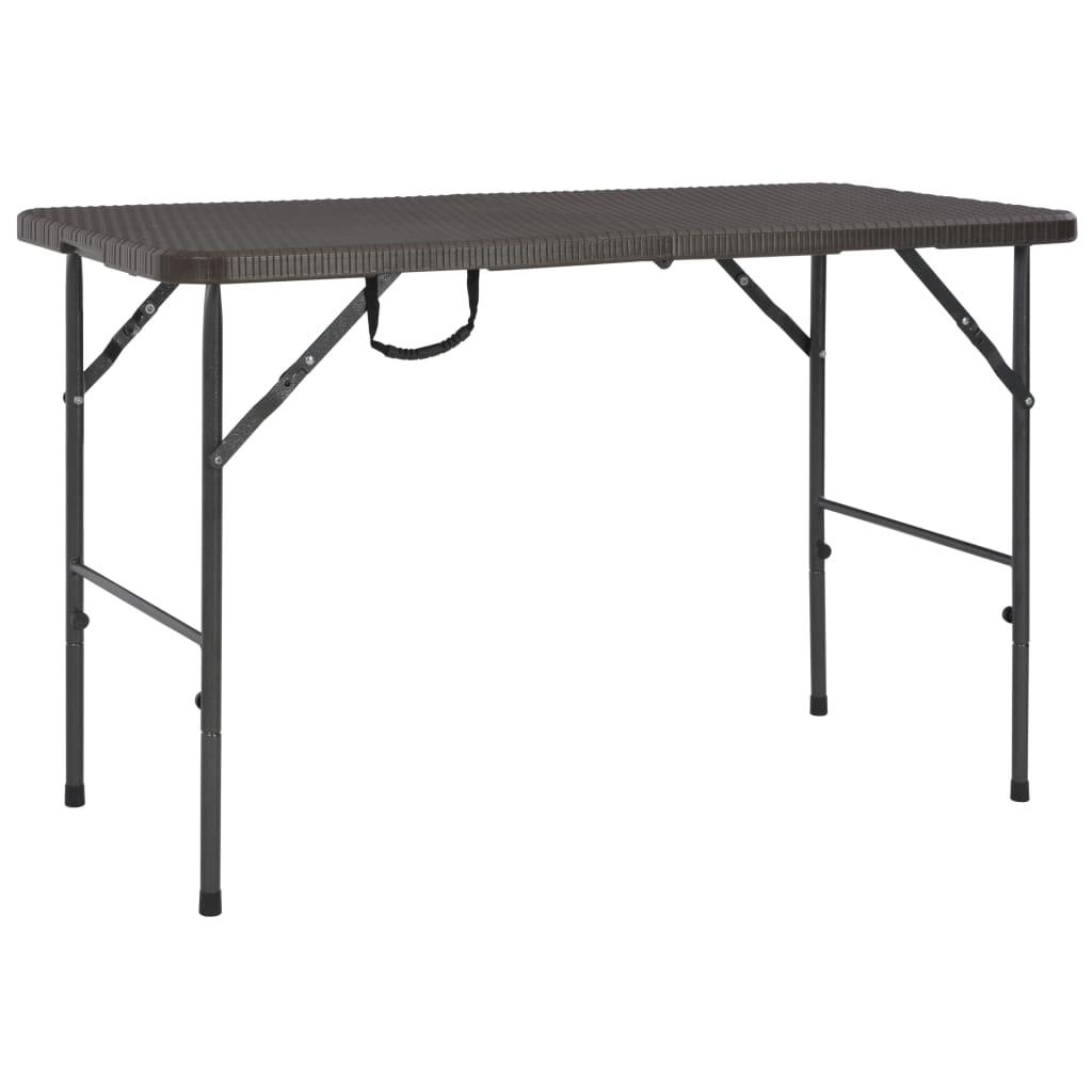 vidaXL Składany stół ogrodowy, brązowy, 120x60x74 cm, HDPE