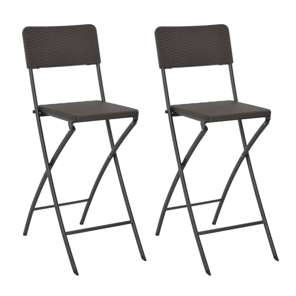 vidaXL Καρέκλες Μπαρ Πτυσσόμενες 2 τεμ. Καφέ HDPE/Ατσάλι με Όψη Ρατάν