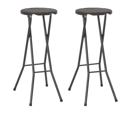 vidaXL Folding Bar Stools 2 pcs HDPE and Steel Brown Rattan Look