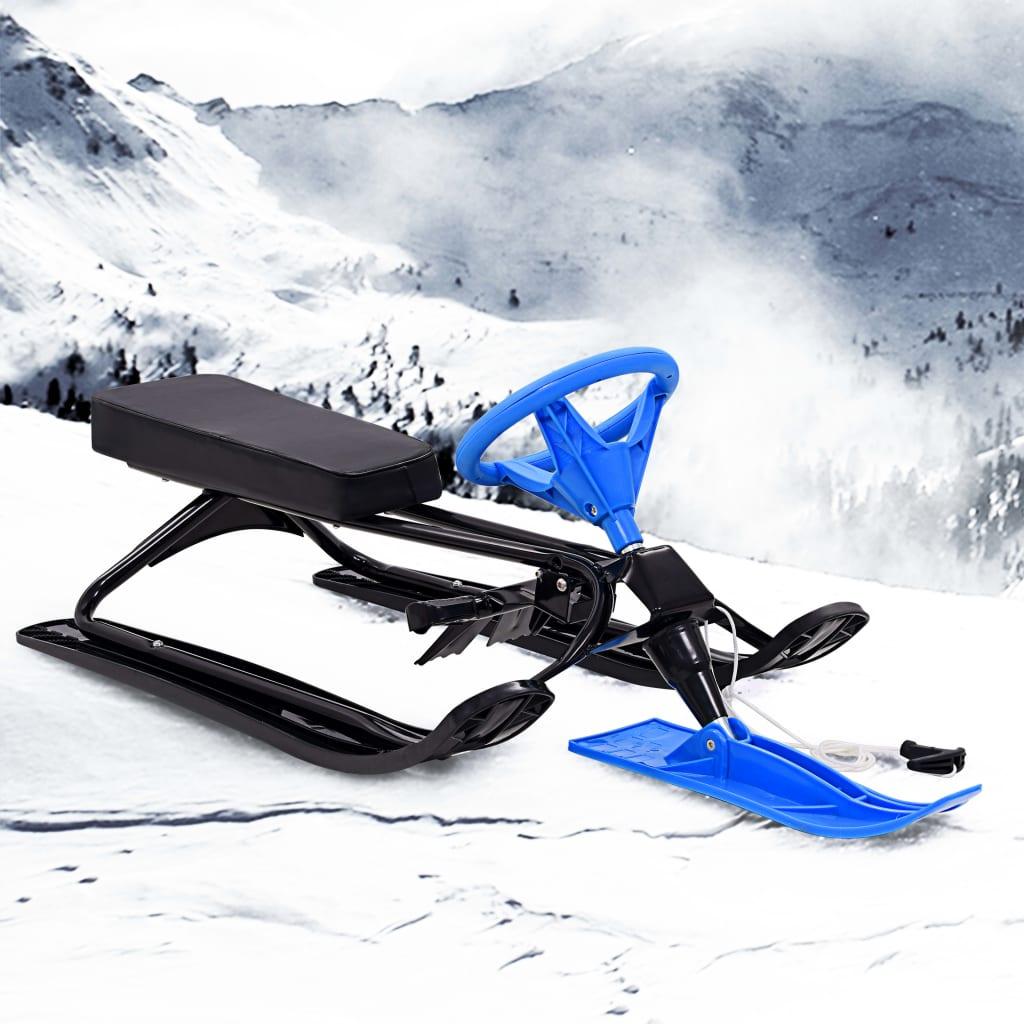 vidaXL Sanie de zăpadă de viteză, model bob, negru și albastru imagine vidaxl.ro