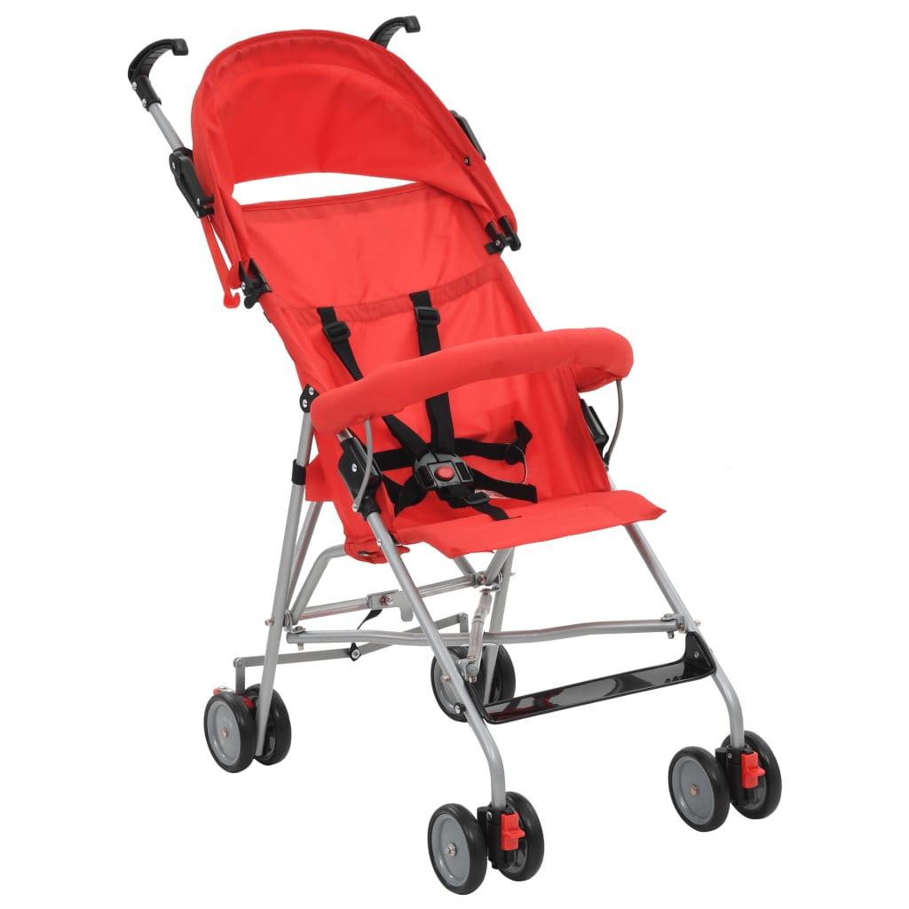 vidaXL Skládací kočárek ocelový červený