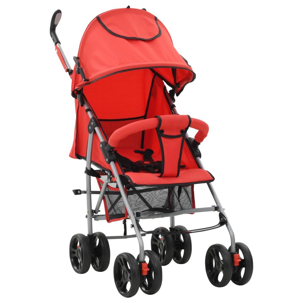 vidaXL Kinderwagen-buggy 2-in-1 inklapbaar staal rood