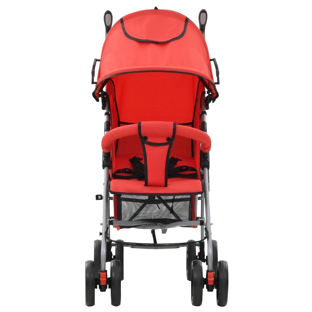 vidaXL Skládací sportovní/hluboký kočárek 2 v 1 ocelový červený