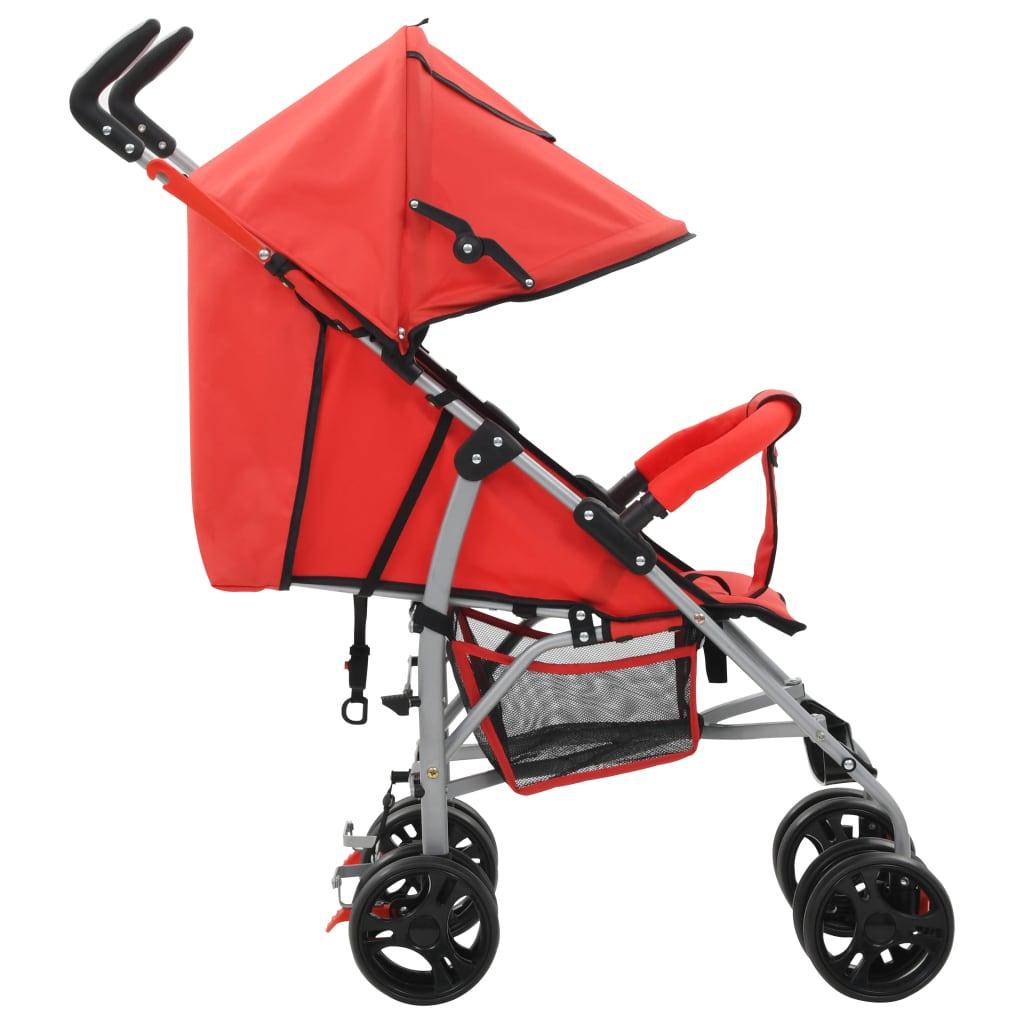 Skládací sportovní/hluboký kočárek 2 v 1 ocelový červený