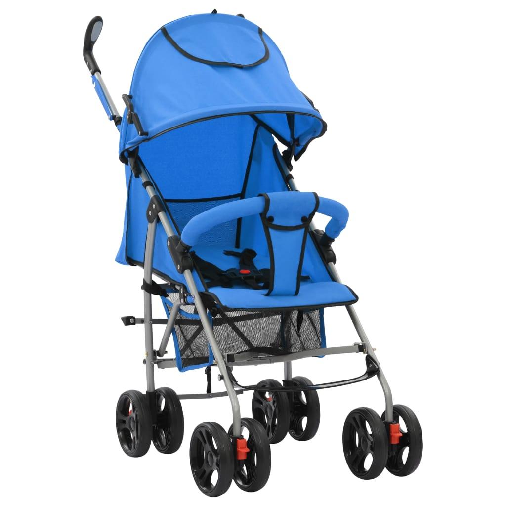 vidaXL Landou/cărucior pliabil copii 2-în-1, albastru, oțel poza vidaxl.ro
