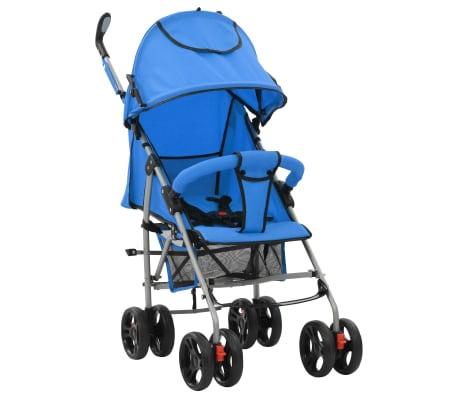 vidaXL Sulankstomas vaikiškas vežimėlis, mėlynas, plienas, 2-1[1/11]