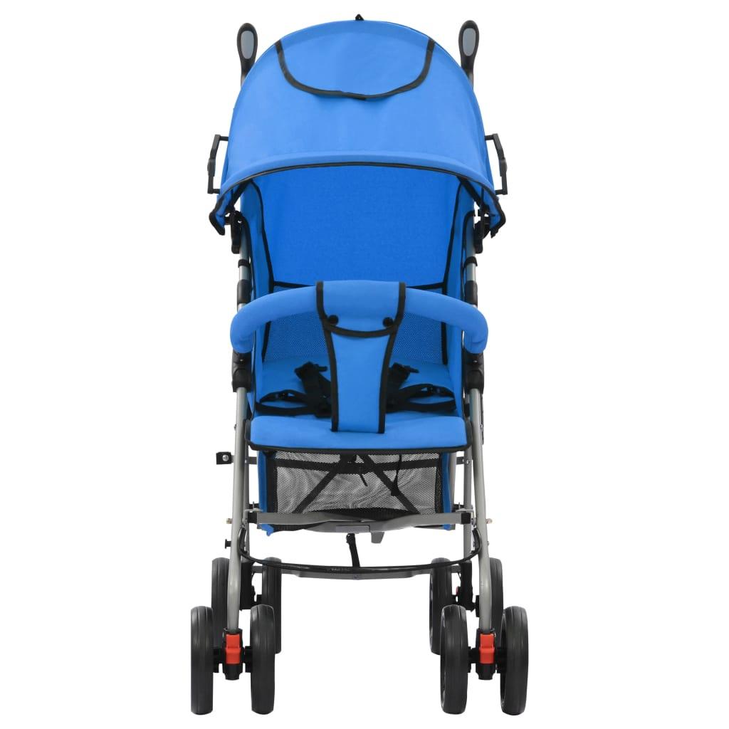 vidaXL Skládací sportovní/hluboký kočárek 2 v 1 ocelový modrý