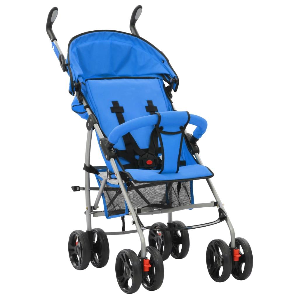 Skládací sportovní/hluboký kočárek 2 v 1 ocelový modrý
