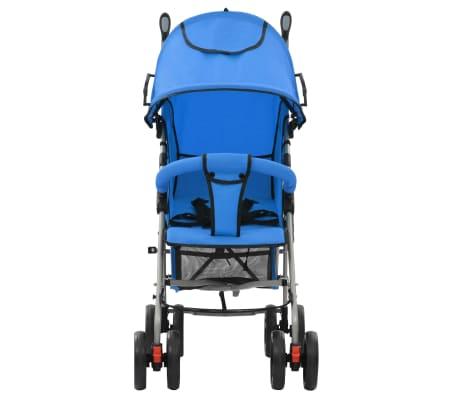 vidaXL Sulankstomas vaikiškas vežimėlis, mėlynas, plienas, 2-1[2/11]