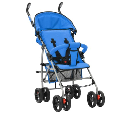 vidaXL Sulankstomas vaikiškas vežimėlis, mėlynas, plienas, 2-1[6/11]