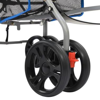 vidaXL Sulankstomas vaikiškas vežimėlis, mėlynas, plienas, 2-1[11/11]