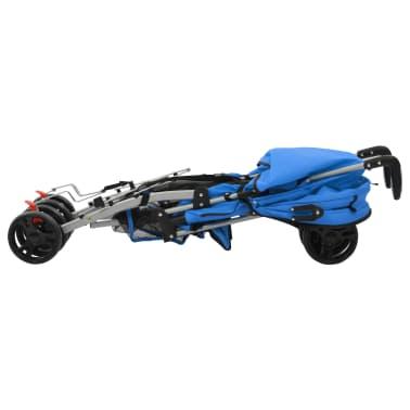 vidaXL Sulankstomas vaikiškas vežimėlis, mėlynas, plienas, 2-1[7/11]