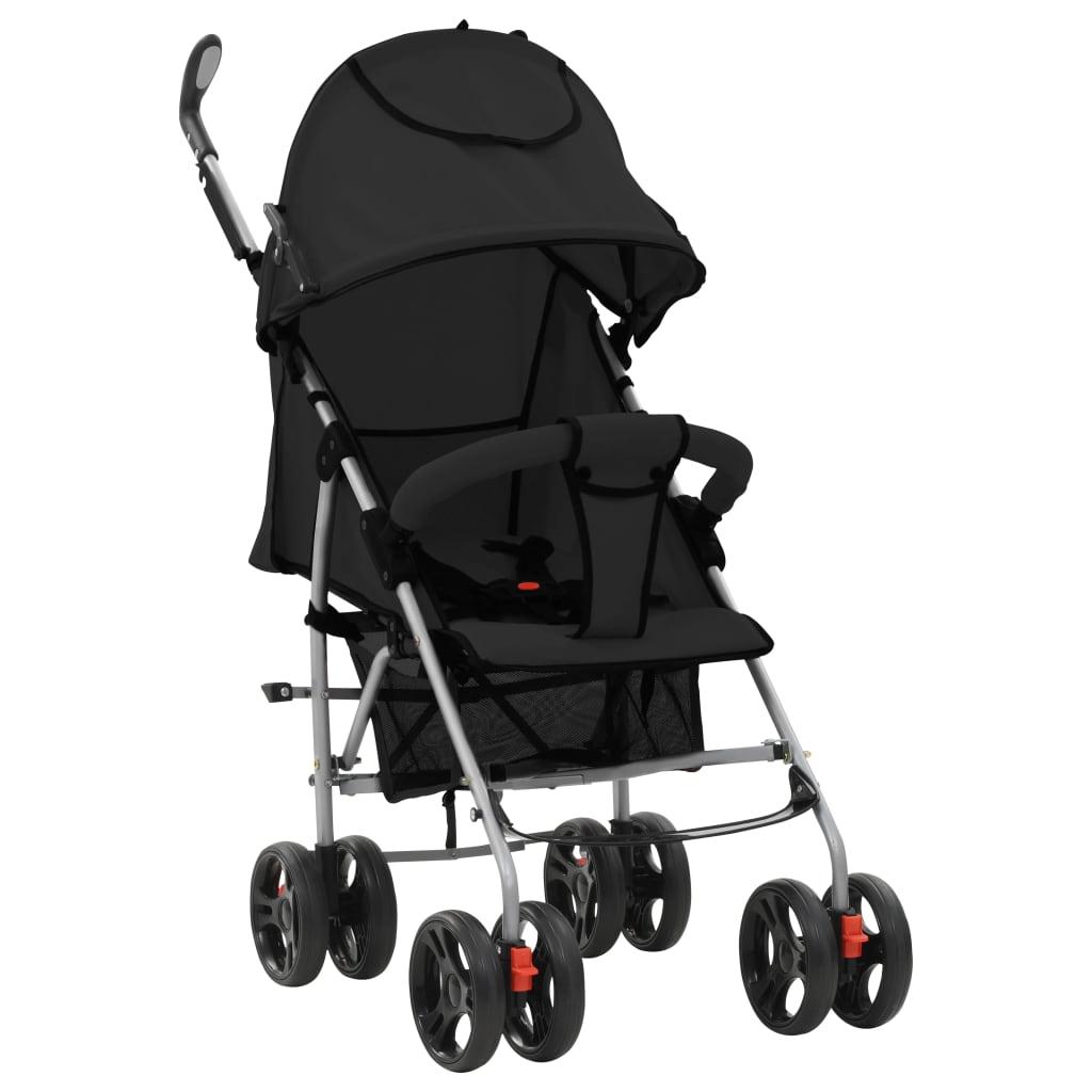 vidaXL Landou/cărucior pliabil copii 2-în-1, negru, oțel poza vidaxl.ro