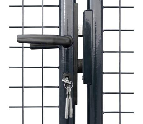 vidaXL Portail en maille de jardin Acier galvanisé 289 x 125 cm Gris[4/9]