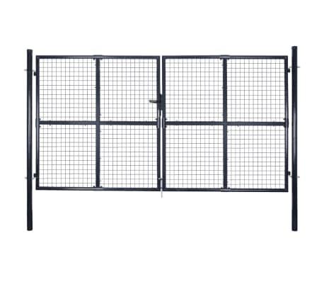vidaXL Nätgrind för trädgård galvaniserat stål 289x175 cm grå