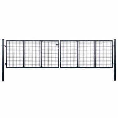vidaXL Mesh-Gartentor Verzinkter Stahl 400 x 100 cm Grau[1/6]