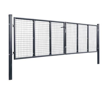 vidaXL Mesh-Gartentor Verzinkter Stahl 400 x 100 cm Grau[2/6]