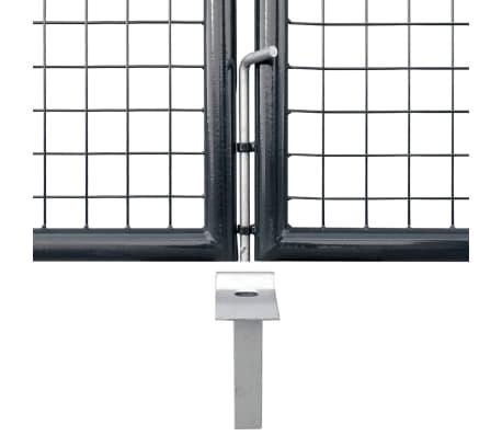 vidaXL Mesh-Gartentor Verzinkter Stahl 400 x 100 cm Grau[4/6]