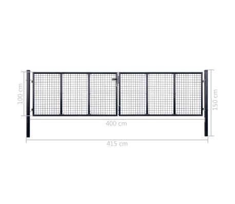 vidaXL Mesh-Gartentor Verzinkter Stahl 400 x 100 cm Grau[6/6]