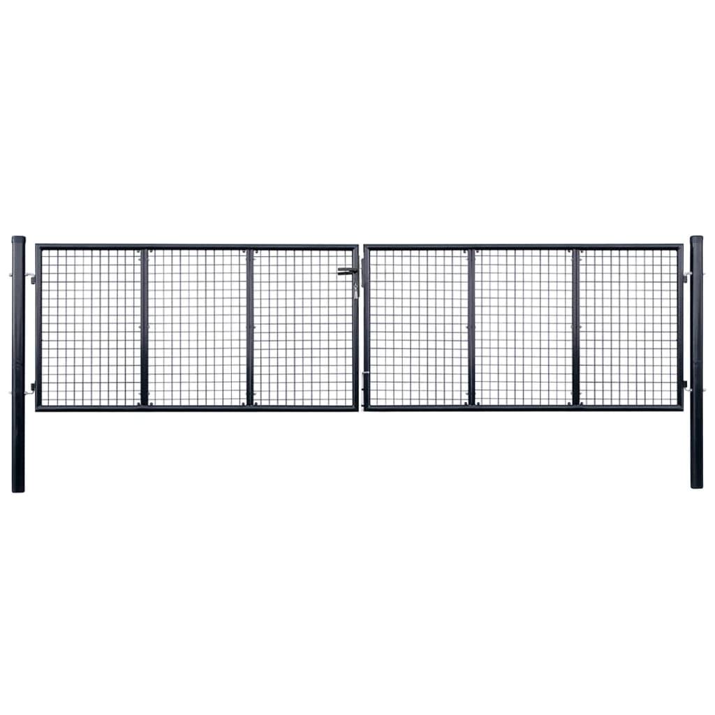 vidaXL Zahradní plotová branka z pozinkované oceli 400 x 125 cm šedá