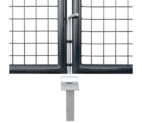 vidaXL Portail en maille de jardin Acier galvanisé 400 x 150 cm Gris[4/6]