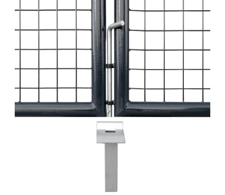 vidaXL Portail en maille de jardin Acier galvanisé 400 x 175 cm Gris[4/6]