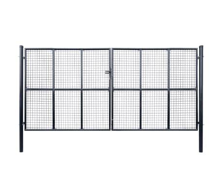 vidaXL Nätgrind för trädgård galvaniserat stål 400x200 cm grå