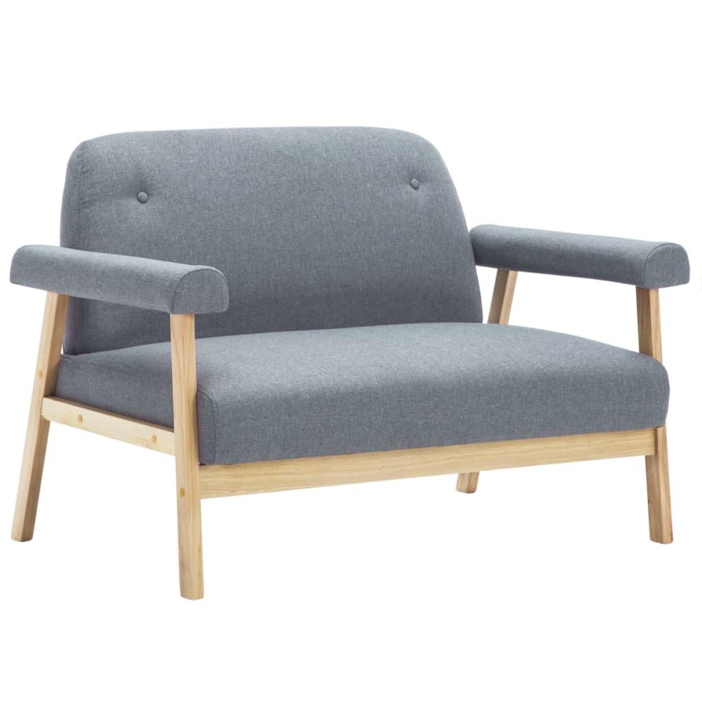 vidaXL Juego de sofás para 3 personas 2 unidades tela gris claro[3/8]