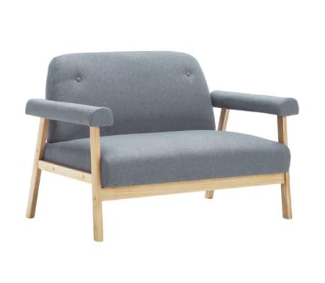 vidaXL Sofos komplektas, 3 asm., 2 dalių, audinys, šviesiai pilkas[3/8]