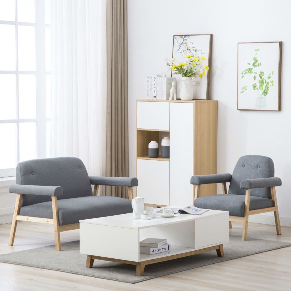 vidaXL Set canapea 3 persoane, 2 piese, material textil, gri deschis imagine vidaxl.ro