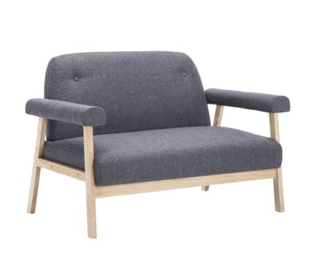vidaXL Sofos komplektas, 3 asm., 2 dalių, audinys, tamsiai pilkas[3/8]