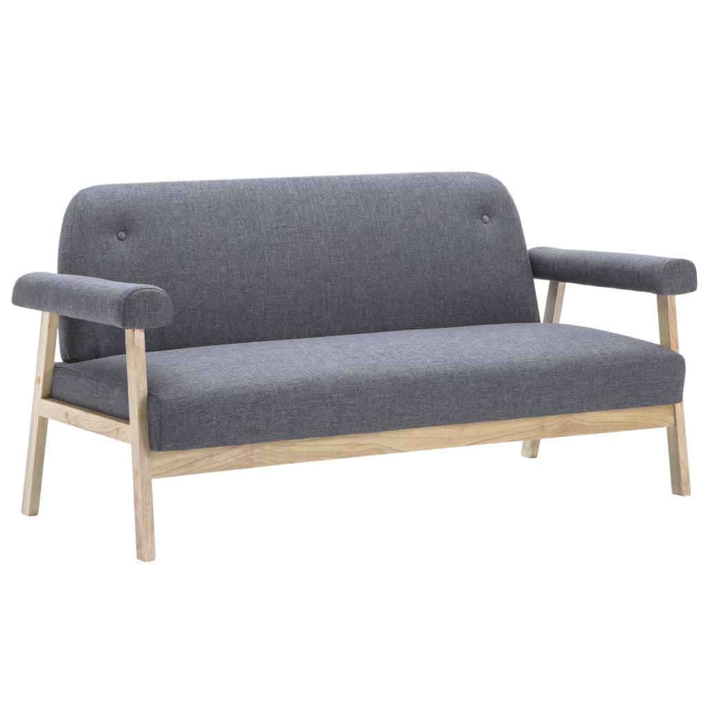 vidaXL Juego de sofás para 5 personas 2 piezas tela gris oscura[3/8]