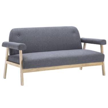 vidaXL Sofos komplektas, 6 asm., 3 dalių, audinys, tamsiai pilkas[3/10]