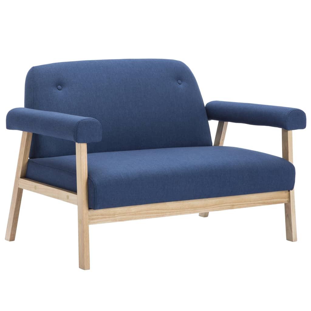 vidaXL Set de sofá de 3 personas 2 piezas de tela azul[3/8]