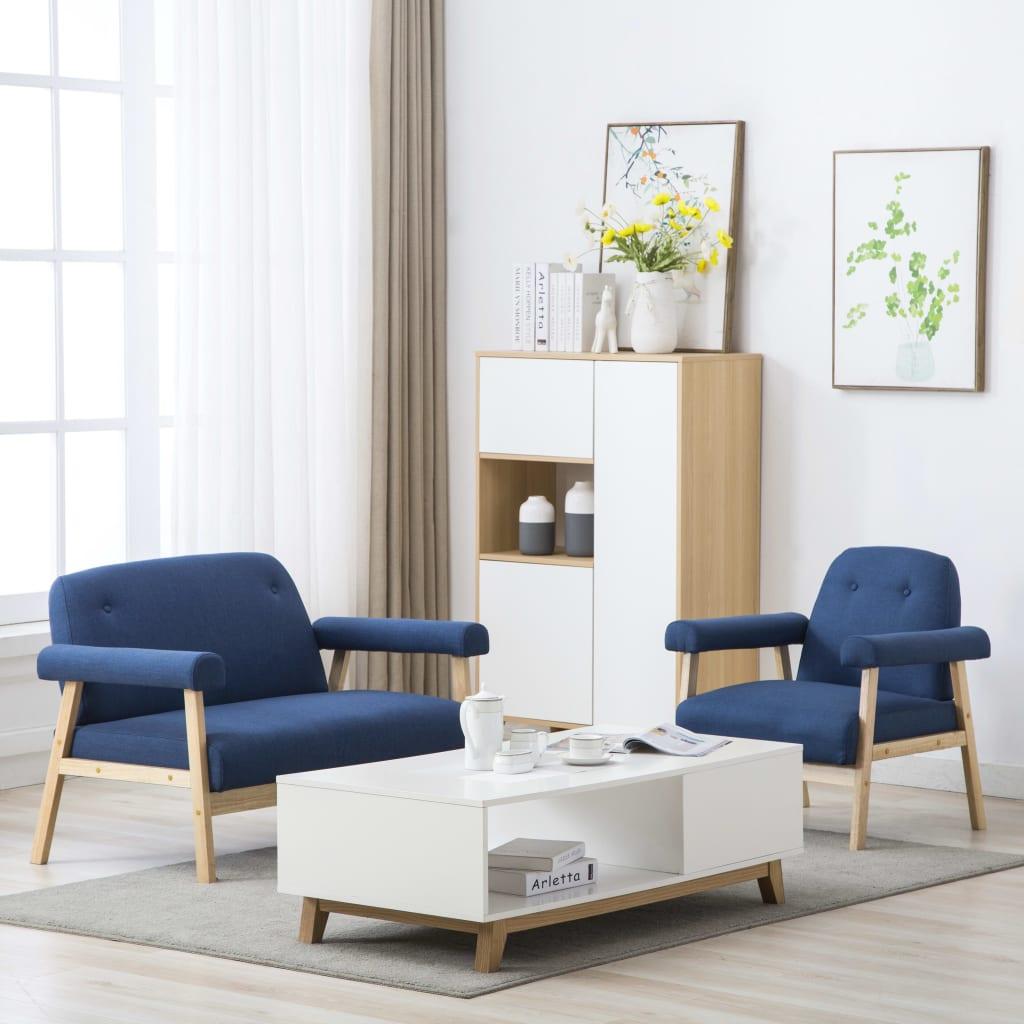 vidaXL Set canapea de 3 persoane, 2 piese, material textil, albastru imagine vidaxl.ro