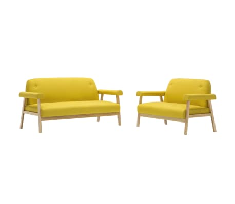 vidaXL Sedací souprava pro 5 osob 2 kusy textilní čalounění žluté[2/8]